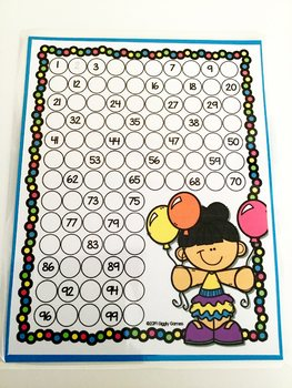 Giggly Games Balloon Buddies Missing Numbers Dry Erase Mat LOW PREP