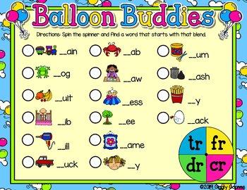 Giggly Games Balloon Buddies Beginning Blends Spinner Mat LOW PREP