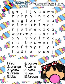 Giggly Games Bubble Gum Colors Word Search Dry Erase Mat LOW PREP