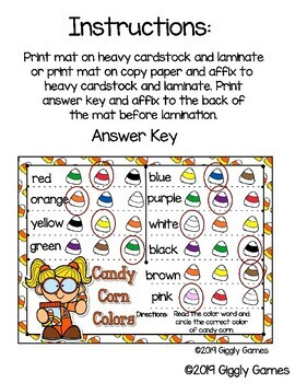 Giggly Games Candy Corn Colors Activity Dry Erase Mat