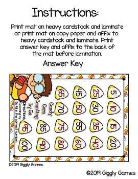 Giggly Games Candy Corn Counting by 5s Activity Dry Erase Mat