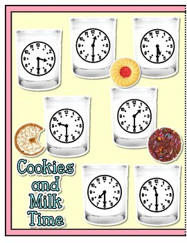 Giggly Games Cookies and Milk Time to the Half Hour File Folder Game