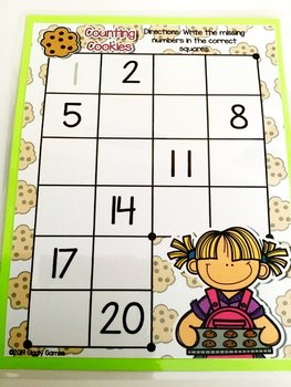 Giggly Games Counting Cookies Missing Numbers Dry Erase Mat LOW PREP