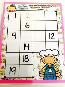 Giggly Games Counting Cupcakes Missing Numbers Dry Erase Mat LOW PREP