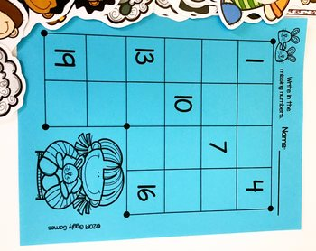 Giggly Games Counting Sheep to 20 Missing Numbers Learning Center with Worksheet