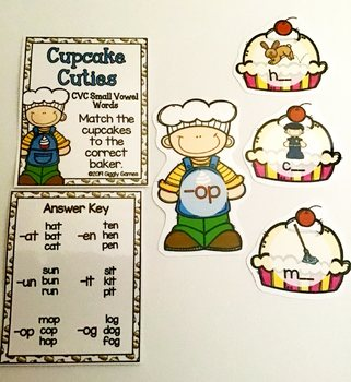Giggly Games Cupcake Cuties CVC Short Vowel Words Learning Center with Worksheet