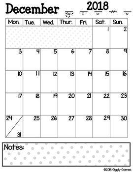 Giggly Games December Monthly Printable Calendar Pack