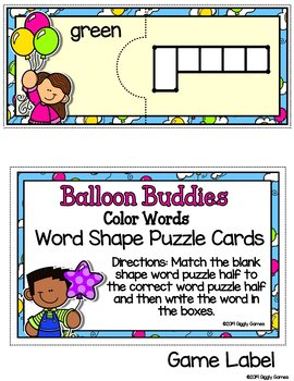 Giggly Games Dry Erase Balloon Buddies Color Word Shapes Puzzle Cards