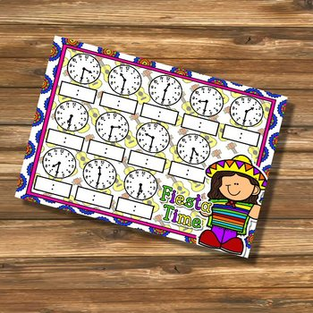 Giggly Games Fiesta Time to the Half Hour Clock Mat Dry Erase Mat