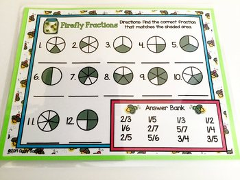 Giggly Games Firefly Fractions Dry Erase Mat LOW PREP