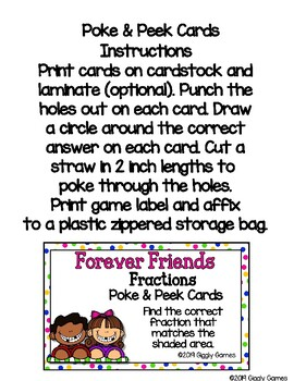 Giggly Games Forever Friends Fractions Poke & Peek Cards