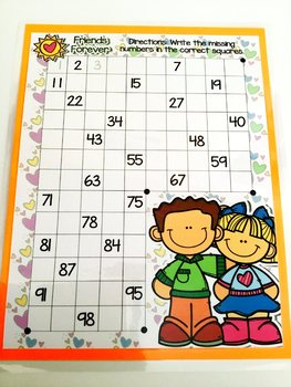 Giggly Games Friends Forever Missing Numbers Dry Erase Mat LOW PREP