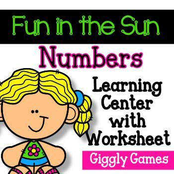 Giggly Games Fun in the Sun Numbers Learning Center with Worksheet