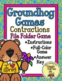 Giggly Games Groundhog Games Contractions File Folder Game
