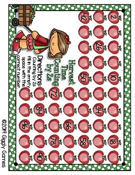 Giggly Games Harvest Time Counting by 2s Activity Dry Erase Mat