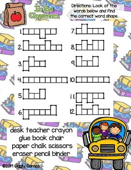 Giggly Games In The Classroom Word Shapes Dry Erase Mat LOW PREP