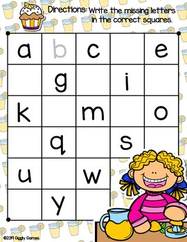 Giggly Games Lemonade Time Missing Letters Dry Erase Mat LOW PREP