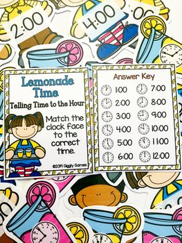 Giggly Games Lemonade Time Time to the Hour Learning Center with Worksheet