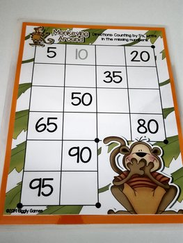 Giggly Games Monkeying Around Skip Counting by 5's Dry Erase Mat LOW PREP