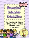 Giggly Games November Monthly Printable Calendar Pack