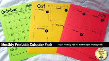 Giggly Games October Monthly Printable Calendar Pack