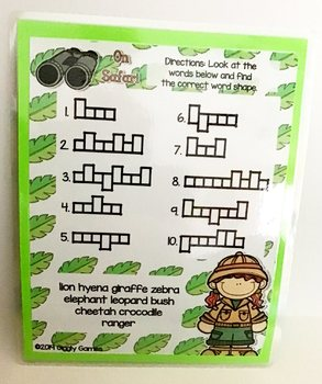 Giggly Games On Safari Word Shapes Dry Erase Mat LOW PREP