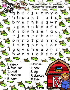 Giggly Games On the Farm Word Search Dry Erase Mat LOW PREP