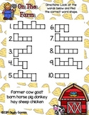 Giggly Games On the Farm Word Shapes Dry Erase Mat LOW PREP