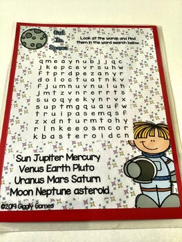 Giggly Games Out in Space Planets Word Search Dry Erase Mat LOW PREP