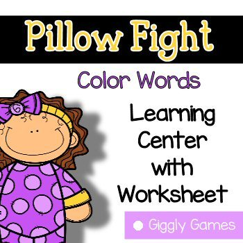 Giggly Games Pillow Fight Color Words Learning Center with Worksheet