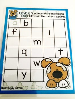 Giggly Games Playful Pup Missing Letters Dry Erase Mat LOW PREP