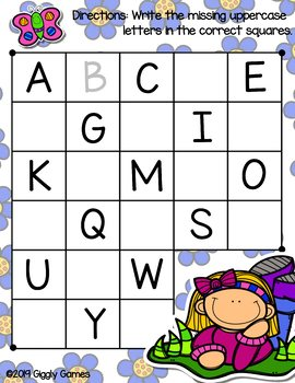 Giggly Games Summertime Fun Missing Letters Dry Erase Mat LOW PREP