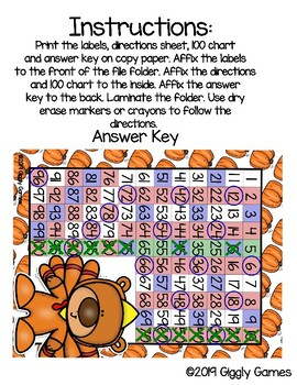 Giggly Games Teddy the Turkey 100 Chart Folowing Directions File Folder Game