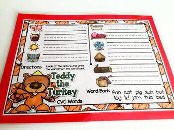 Giggly Games Teddy the Turkey CVC Words Dry Erase Mat LOW PREP