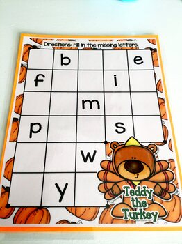 Giggly Games Teddy the Turkey Missing Letters Dry Erase Mat LOW PREP