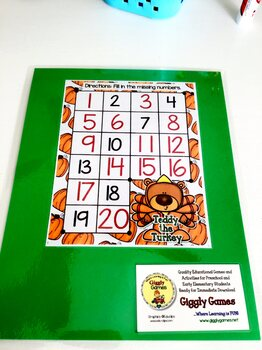 Giggly Games Teddy the Turkey Missing Numbers Dry Erase Mat LOW PREP