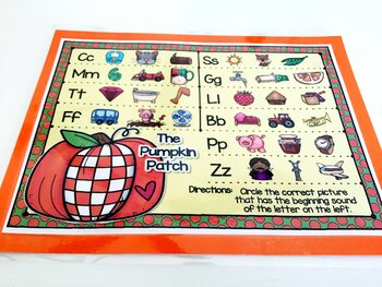 Giggly Games The Pumpkin Patch Beginning Sounds Activity Dry Erase Mat