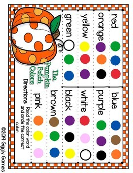Giggly Games The Pumpkin Patch Colors Activity Dry Erase Mat