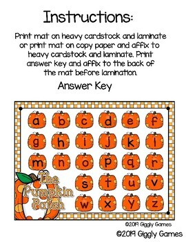 Giggly Games The Pumpkin Patch Missing ABCs Activity Dry Erase Mat