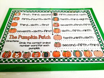 Giggly Games The Pumpkin Patch Ordinal Number Words Activity Dry Erase Mat