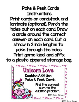 Giggly Games Unicorn Love Doubles Addition Poke & Peek Cards