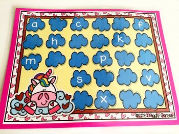 Giggly Games Unicorn Love Missing ABCs Activity Dry Erase Mat