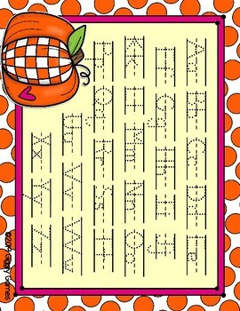 The Pumpkin Patch Dotted Letter with Line Alphabet Practice Mat Dry Erase