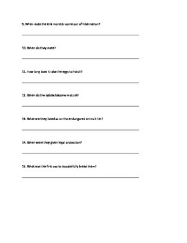 Gila Monster - Informational Article questions vocabulary facts