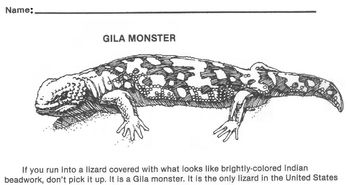 Animal Gila Monster Reading Wksht -Science, Reptiles 4 Multiple Choice Questions