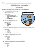 Gilbert Goldfish Wants a pet Vocabulary Sheet