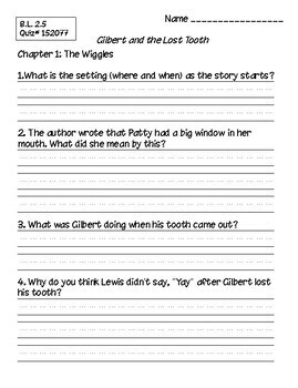 Gilbert and the Lost Tooth Book Club Packet