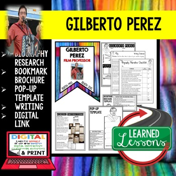 Gilberto Perez Biography Research, Bookmark Brochure, Pop-Up, Writing