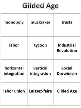 Gilded Age (1877-1900) Vocabulary Mat Activity