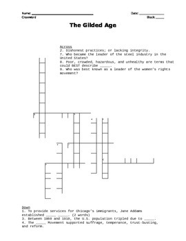 gilded age crossword by fletcher us history teachers pay teachers. Black Bedroom Furniture Sets. Home Design Ideas